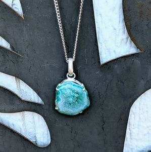 Natural Blue Solar Quartz Druzy Pendant Necklace